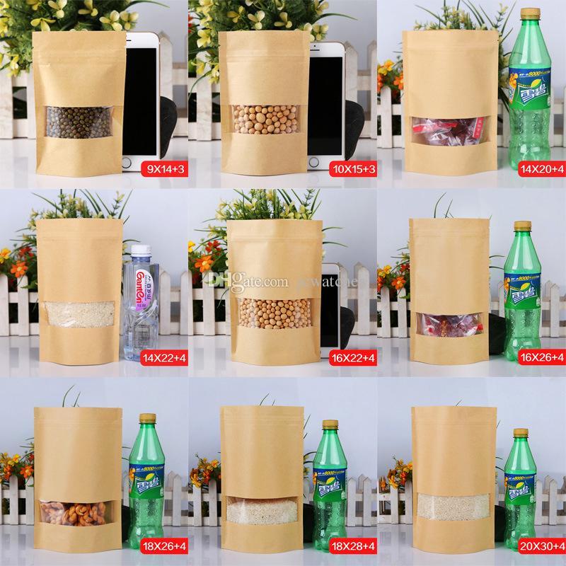 Bolsas a prueba de humedad de 9 tamaños Bolsita de galletas Snack Ziplock Bolsa de embalaje Bolsa de papel Kraft con ventana transparente para nueces de alimentos secos Embalaje de caramelos