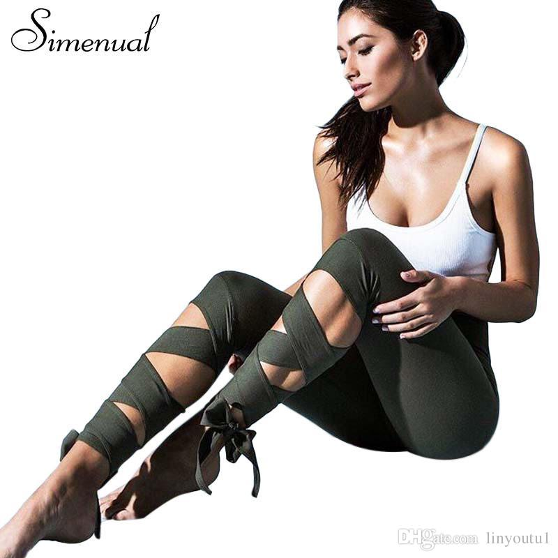 02248f8a1ca 2019 Simenual Lace Up Strappy Leggings Women Fitness Slim Sexy Bandage  Summer Legging Sportswear Athleisure Elastic Jeggings Pants From Linyoutu1
