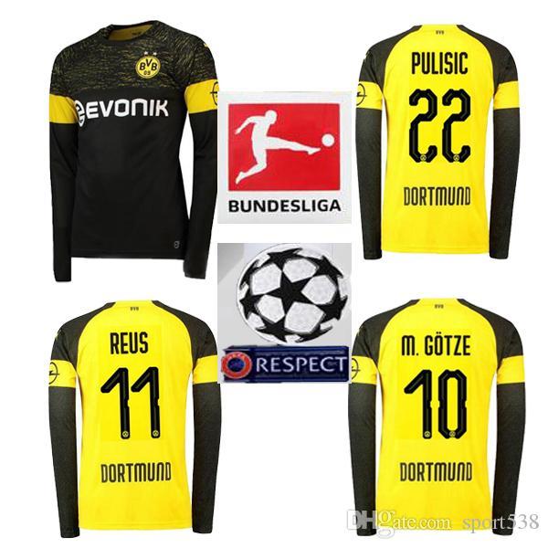 Compre 2019 Bundesliga FC Borussia Dortmund Fora 11 REUS Manga Longa Jersey  Men Soccer 2018 Dortmund Em Casa 22 PULISIC Camisa De Futebol Uniforme De  Jogo ... fcd137c3d71b1