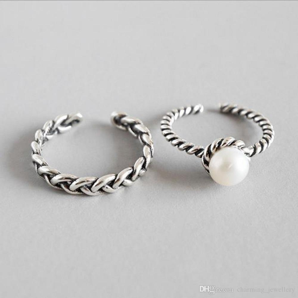 7c6f534589 Pure 925 Sterling Silver Personalized Vintage Twisted Rope Open Ring ...