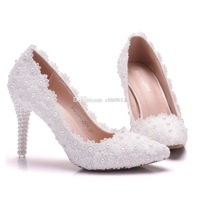 317e3689a1c6 2018 Women S Fashion Shoes High Heels Lace Flowers Bead Decor Ladies High  Heels Work Wedding Party Shoes Sexy Thin Shoes Birkenstock Shoes Brown Dress  Shoes ...
