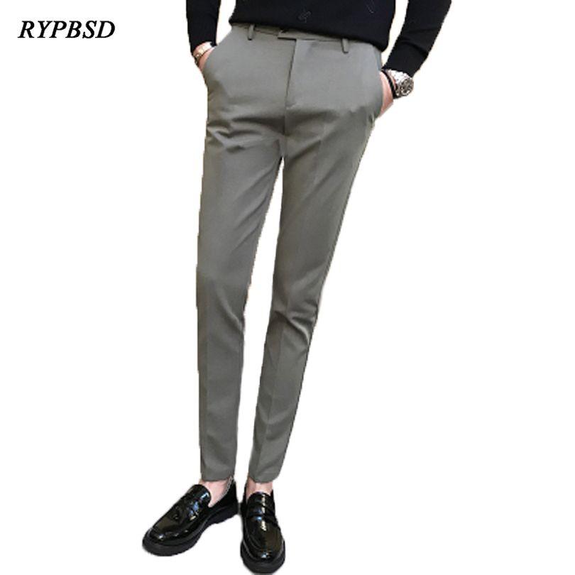 6e0b7bda1c7 2019 Men Dress Pants Slim Fit Solid Color Male Formal Pants Slim Fit Suit Trouser  Men Leisure Fashion Men Pencil Pants From Hhl83054085