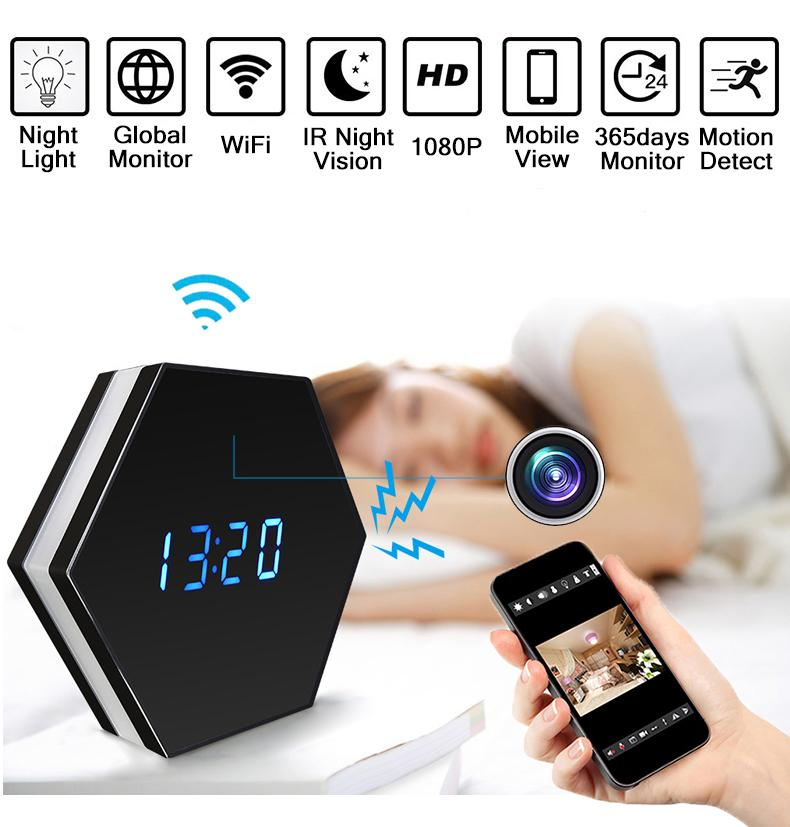 Table 1080P WiFi Camera Color Clock IR Night Vision Mini Home Baby Phone  APP Remote Monotor Security Real Time Video Watch Smart Watch For Women  Smart ... 28aab04591