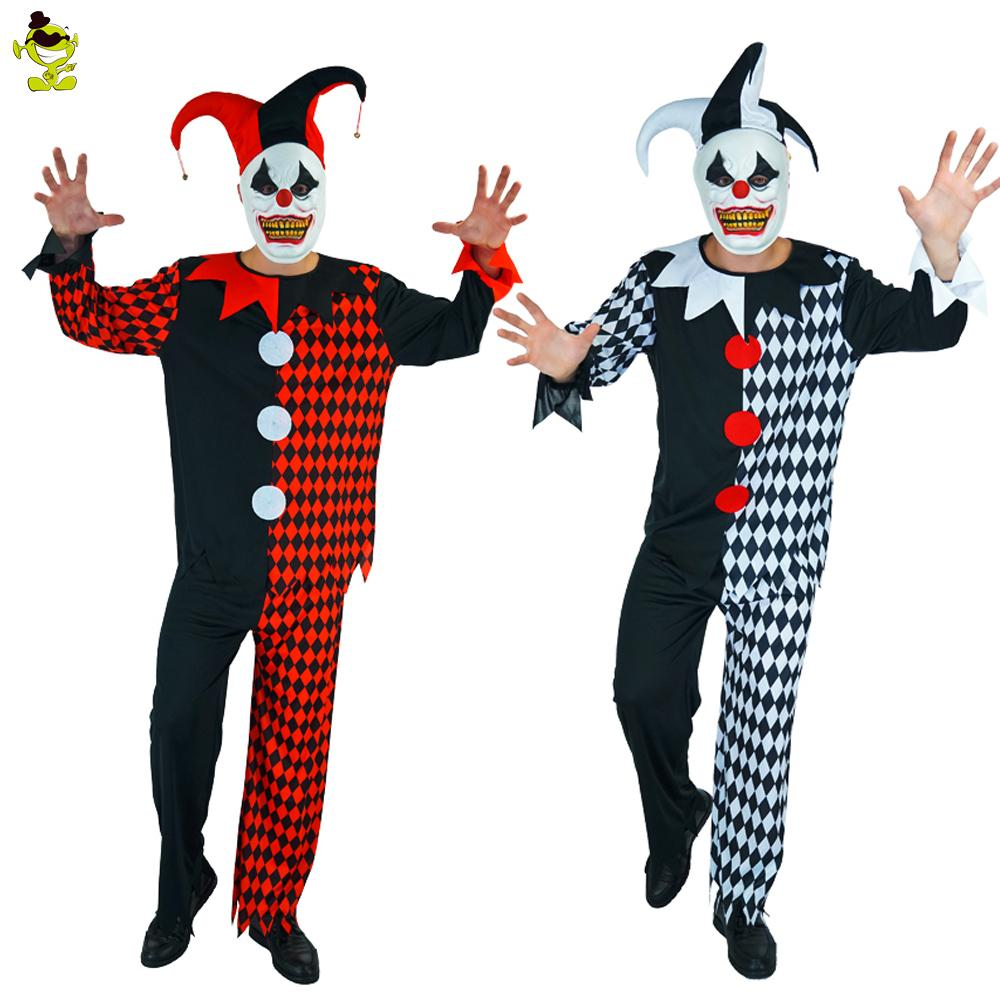 deluxe plus mask killer clown adults costumes halloween fancy dress mens circus horror costume for evil cosplay male costume group themes halloween costume