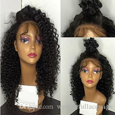 Synthetic Lace Front Wig Kinky Curly Layered Haircut For Black Women African American Wig Natural Hairline High Quality Nature Black