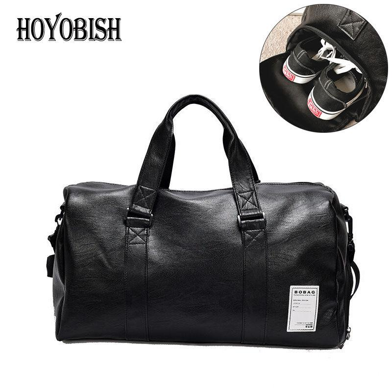 HOYOBISH Korean Style Men Travel Duffle Bags Waterproof Leather Handbags  Shoulder Bag For Women Large Capacity Weekend Bag OH301 Laptop Bags For  Women ... b448a70e98c14
