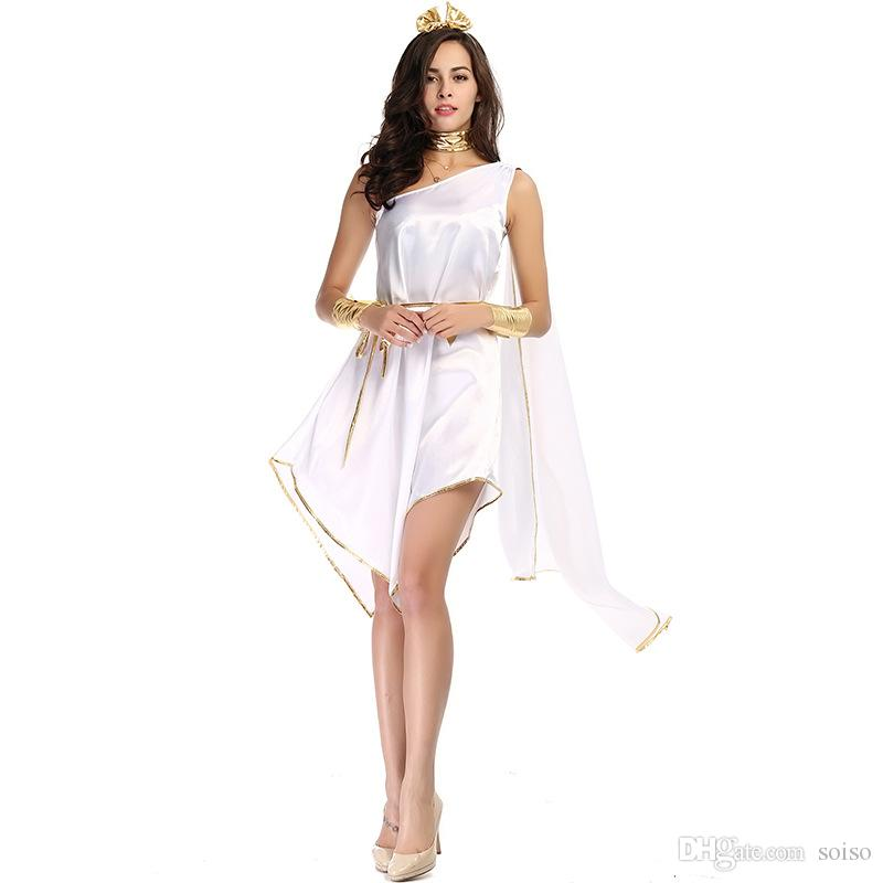 Acquista Costumi Di Halloween Donne Sexy Costume Della Dea Greca Che Scorre  Irregolare Bianco Lungo Fancy Dress Festa Di Carnevale Cosplay Principessa  ... e51d60db259
