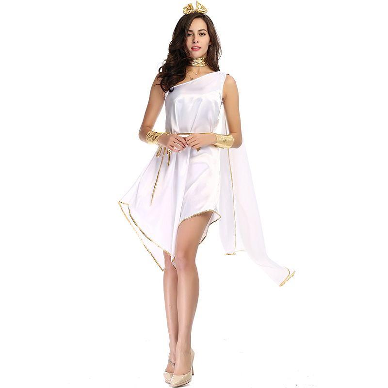 ec1f23d4e0e0b Halloween Costumes Sexy Women Greek Goddess Costume flowing Irregular White  Long Fancy Dress Holiday Party Carnival Cosplay Roman Princess