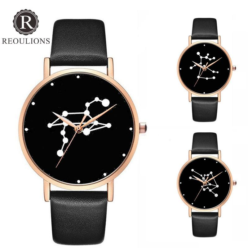 b8a0f9686a7 REOULIONS 12 Constellations Watch Couple Watches Quartz Leather Dress  WristWatch Montre Femme Relogio Masculino Birthday Gift Gift Gifts Gift  Birthday Gifts ...