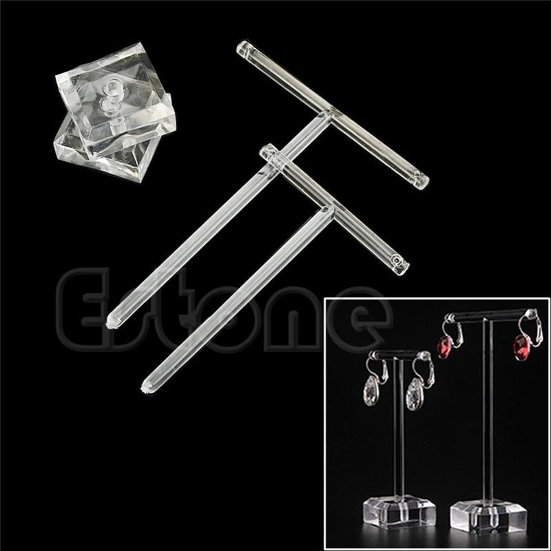 Earrings Jewelry Display T Bar Stand Holder Rack Organic Glass Hard Display Stand Holder Jewelry Organizer Hard Display Stand