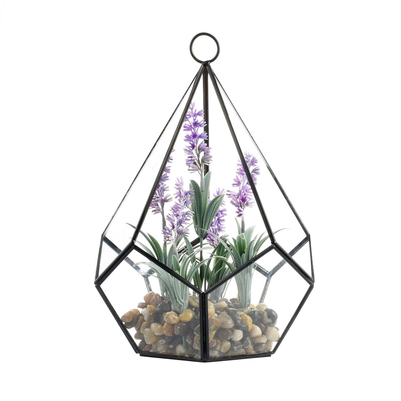 Artificial Flower Plant Vase Set - Tears Shape Glass Polyhedron Geometric Terrarium Ornament Hung with Large Metal Stand Centerpiece Vase
