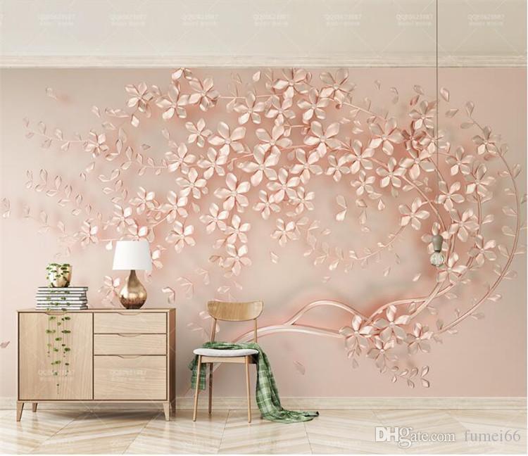 Girls Rose Gold Wallpaper: Customized Large Mural Luxury Elegance 3d Stereoscopic