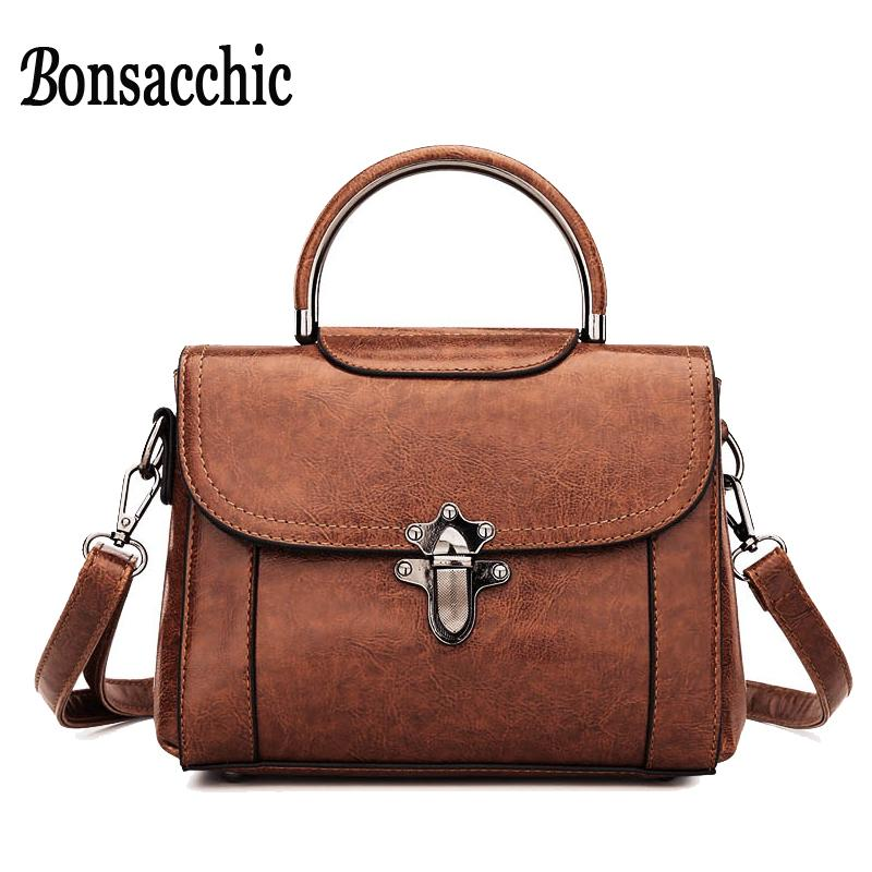 51f9e40820c6 Bonsacchic Vintage PU Leather Bags Women Small Handbag Brown Crossbody Bags  For Women 2018 Summer Female Bag With Short Handles Leather Briefcase  Wholesale ...