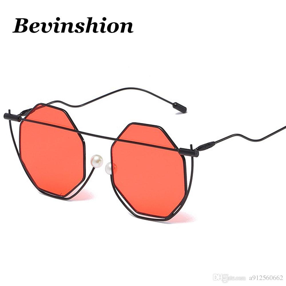 b7f423f59b Brand Ocean Lens Color Pearl Polygon Sunglasses Women Rose Gold Mirror Wrap  Bending Legs Beam Metal Men Sun Glasses Clear Oculos Polygon Sunglasses  Clear ...