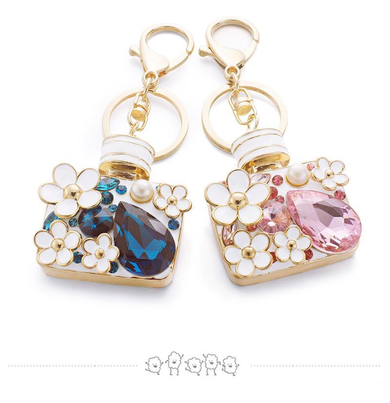 Enamel Flower Rhinestone Bottle Keyrings Crystal Bag Pendant For Car Key Chains Holder Rings Women Jewelry