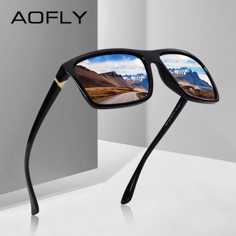 89b3d151e AOFLY BRAND DESIGN Polarized Sunglasses Men Square Frame Sun Glasses ...