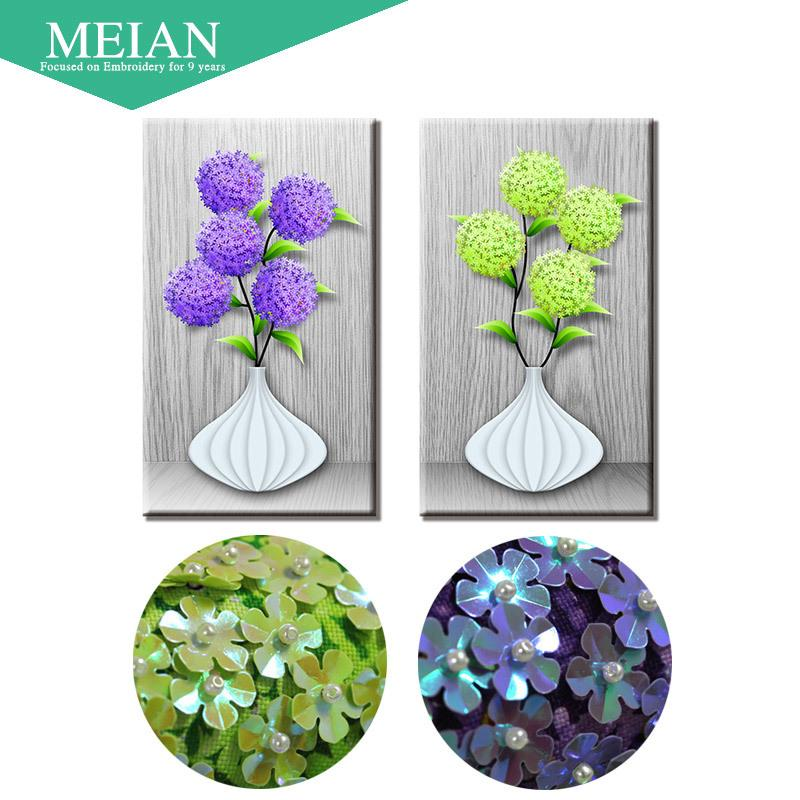 Meian,Special Shaped,Diamond Embroidery,Flower,Vase,5D,Diamond Painting,Cross Stitch,3D,Diamond Mosaic,Decoration,Christmas Y18102009