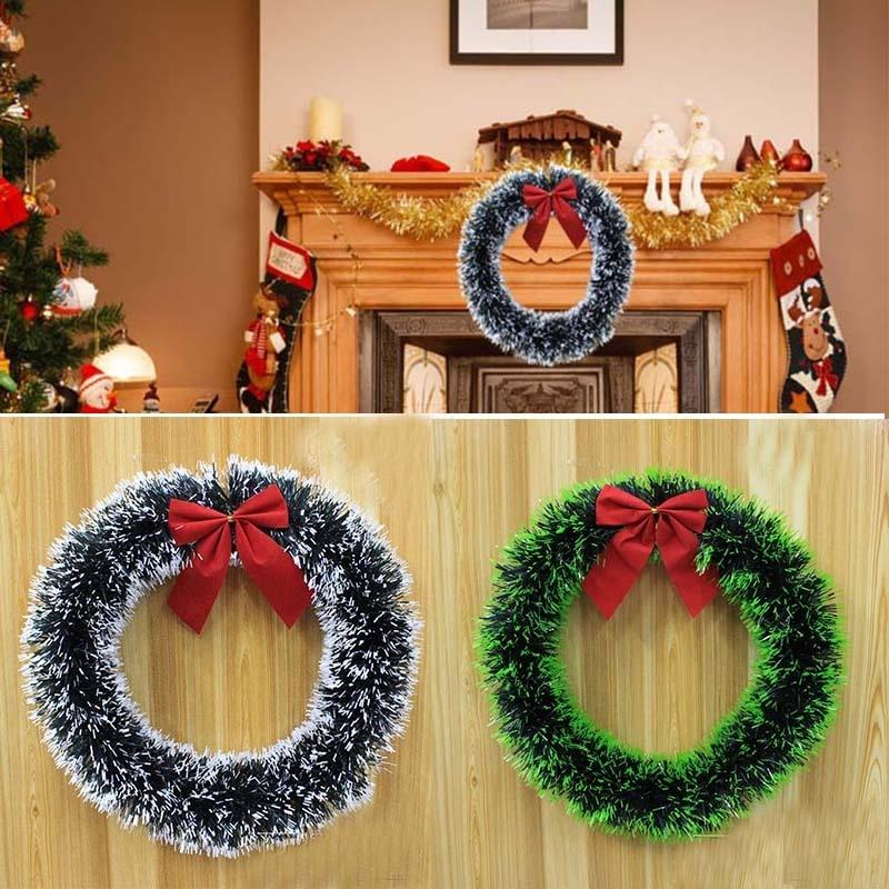 Christmas Garland Madder Bowknot Wreath For Xmas Supermarket Hotel Windows Christmas Tree Decorations Party supplies Home Decor Y18102609
