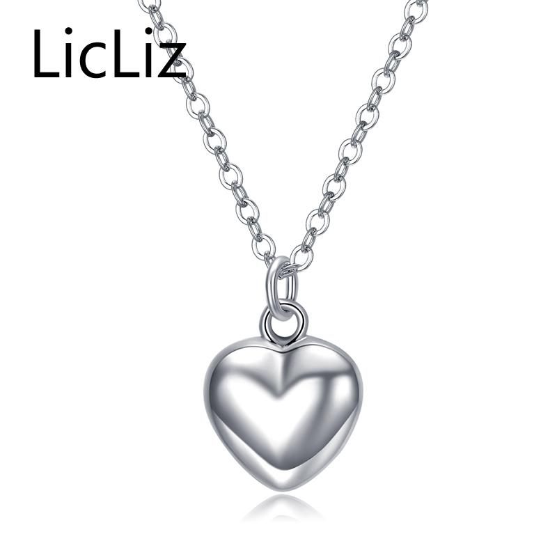 LicLiz Trendy 925 Sterling Silver Mirror Polish Heart Pendant Necklace Long Link Chain Vintage Wedding Jewelry For Women LN0190 Y18102910