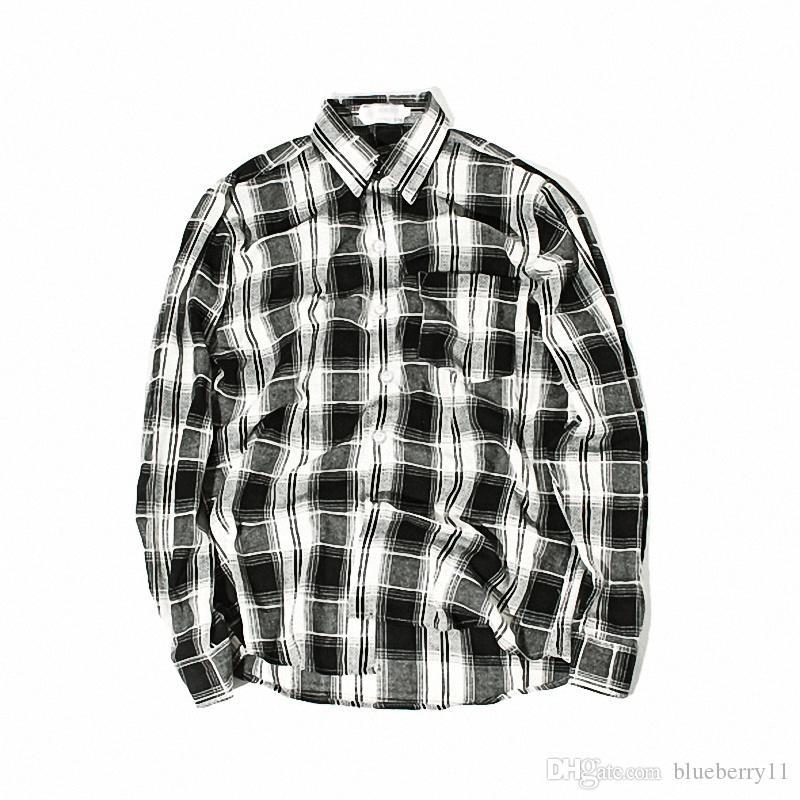 promo code 3afbd d7273 Camicia a quadri bianca nera moda Camicia a maniche lunghe da uomo Camicie  eleganti da uomo vintage di marca unisex