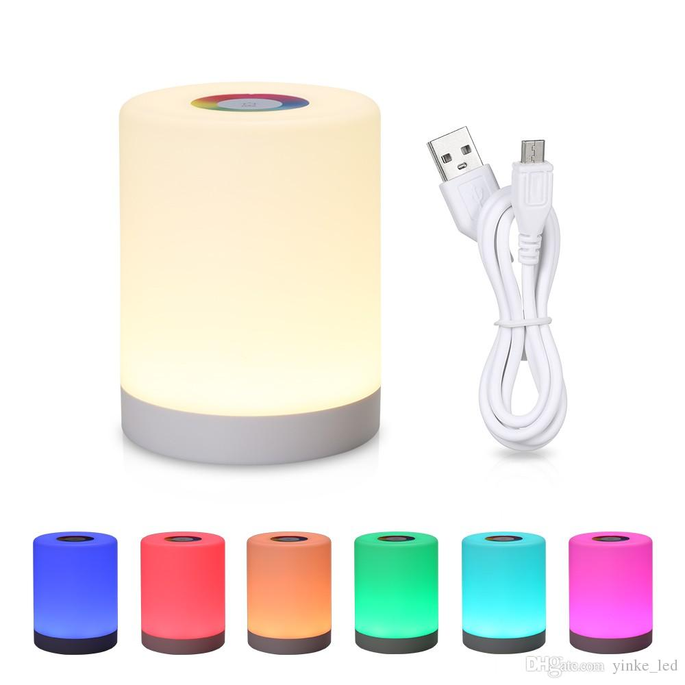 Touch Control Night Light LED Desk Table Bedside Lamp Battery USB Rechargeable Lights 3D Nightlight for Living Room Bedroom Home Decor
