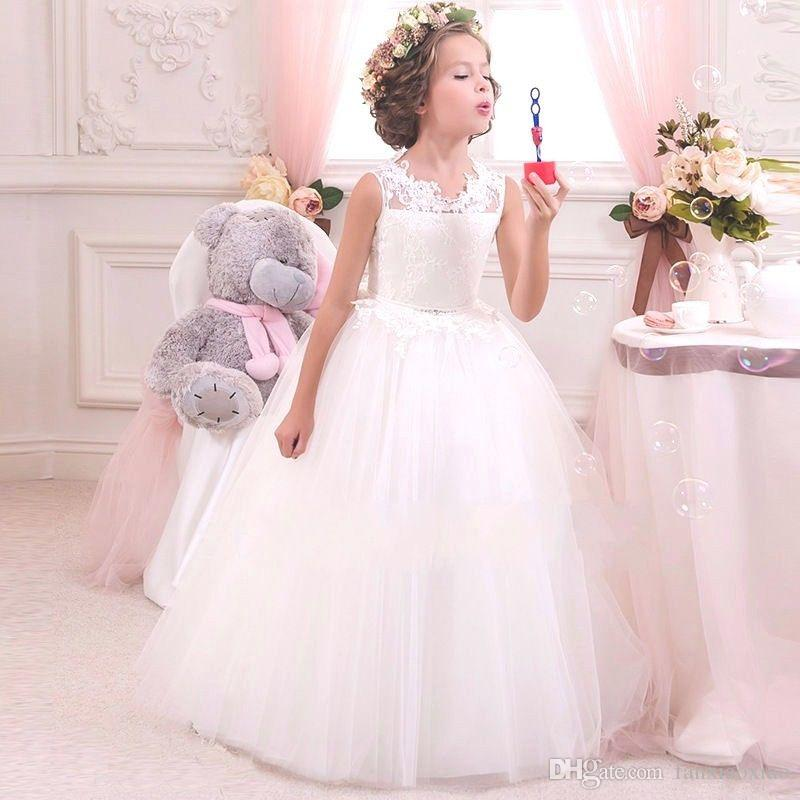 f511d4712cc Kids Flower Girl Bow Princess Dress For Girls Party Wedding Bridesmaid Gown  Custom Size Ivory Dress Lace Flower Girl Dresses From Fanxiaoxiao