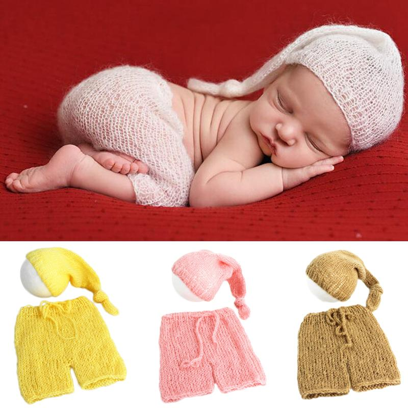 054c8d75f4c 2019 Soft Mohair Newborn Photography Props Costumes Cap Hat+Pants Set Baby  Knitted Photo Accessories Boy Girl Outfit From Ferdimand