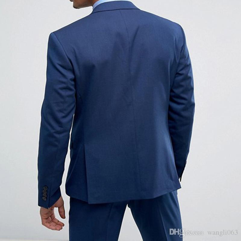 Blue Groom Tuxedos Groom Wear Two Piece Peaked Lapel One Button Classic Fit Evening Dinner Party Men Suits Jacket Pants 2018