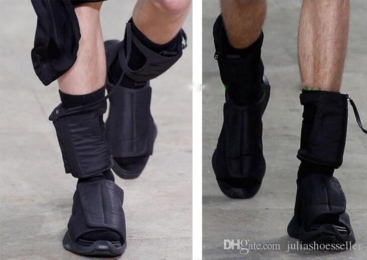 Summer Fashion Runway Men Knight Boots Black Comfortable Flats Sandals Unisex Strange Runway Platform Sneakers Beach Shoes Size 35-46