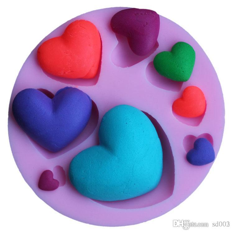 Creative Silicone Fondant Mold 3D Heart Love Shape DIY Handmade Moulds Food Grade Baking Tools alentine Day Gift 2 7dy ii