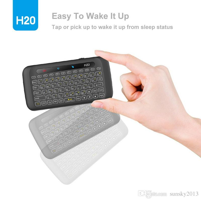 Mini tastiere wireless retroilluminazione con touchpad multi-touch H20 2.4G Fly Air Mouse telecomando Android TV Box PC portatile HTPC IPTV