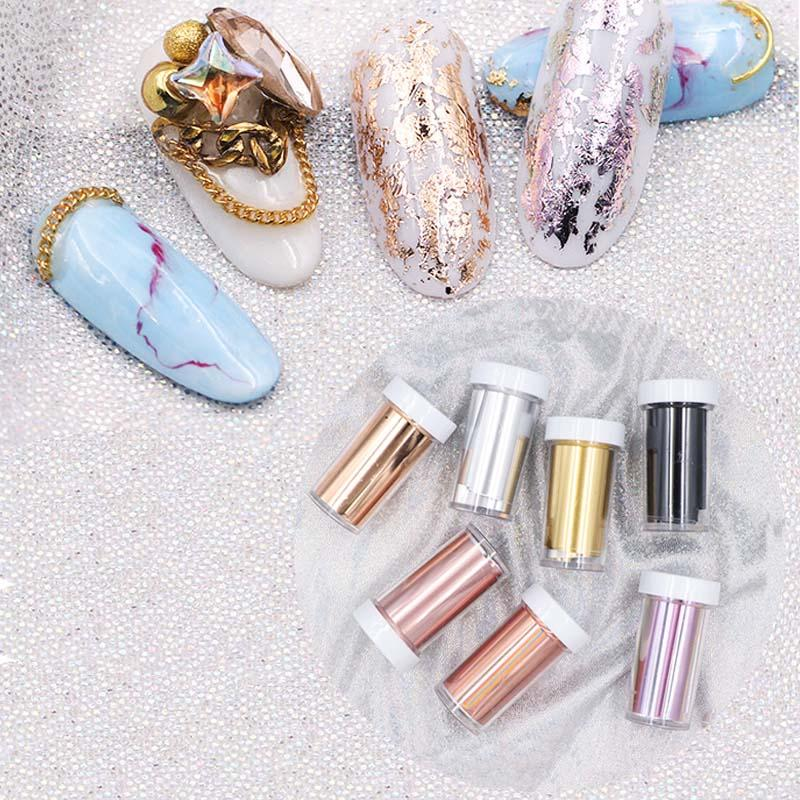 Laser Matte Rose Gold Nail Transfer Foils Decorations Nail Art