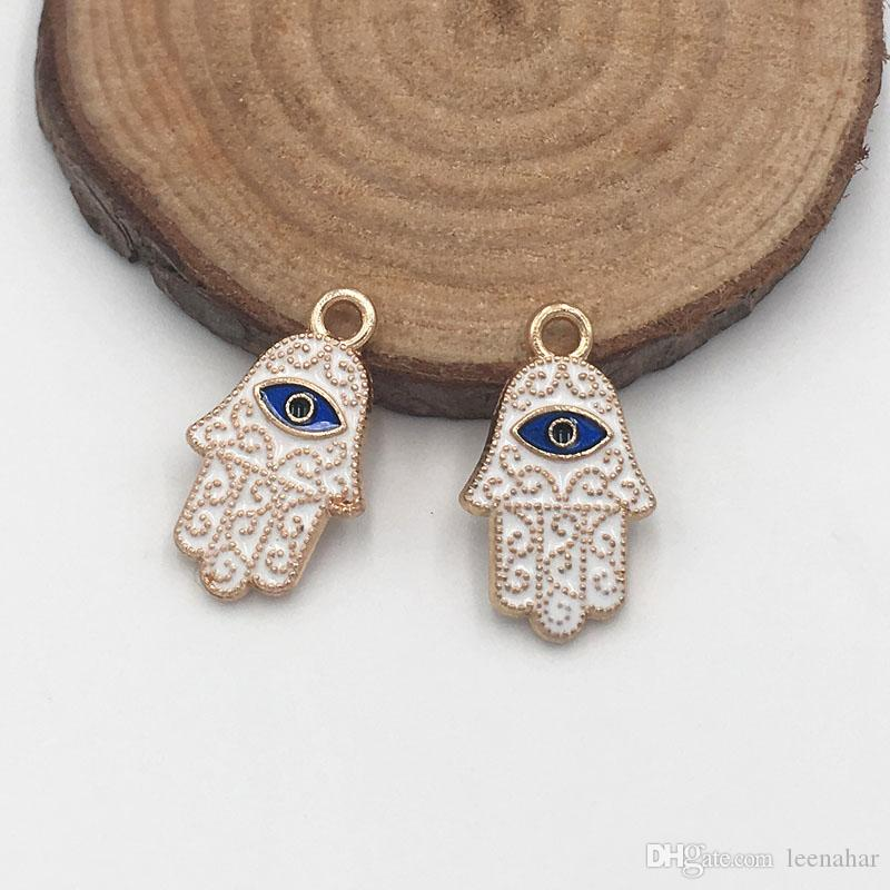Fatima Hand Hamsa Palm Protection Charm Blue Evil Eye Beads Pendants for Necklace Bracelet Jewelry Accessories