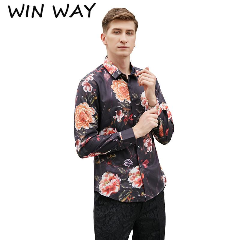 Win Way 2018 Hot Sell Fashion Male Costume High Quality Casual Luxury Print Shirt Masculino Slim Fit