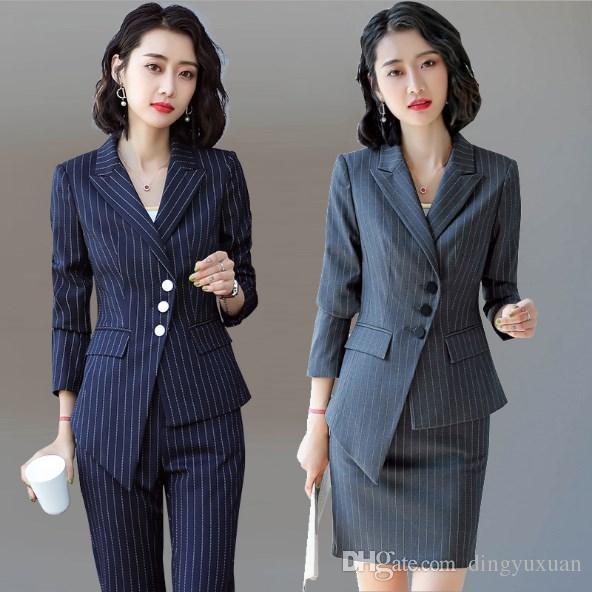a02f888e5 Compre Pantalón A Rayas Para Mujer Slim Fit Negro Azul Gris Traje Más  Tamaño 2 Piezas Conjunto Pantsuit Botón Oblicuo Blazer Y Pantalón Irregular  A  63.99 ...