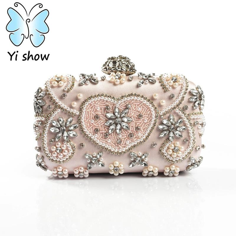 5a2fa2782436 YISHOW Women Evening Bags Ladies Clutches Purse Silver Gold Sale Price  Crystal Wedding Party Bridal Bag Europe Set Auger Handbag Shoulder Bags  Designer ...