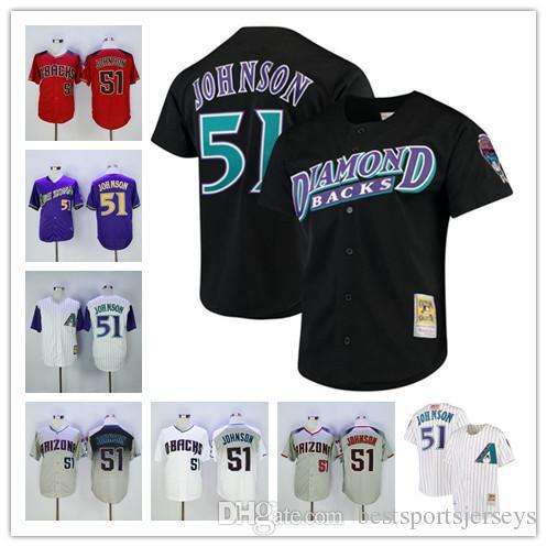 newest edb90 c5777 Men s Arizona 51 Randy Johnson Jersey color black white grey red jerseys  100% stitched Free shipping