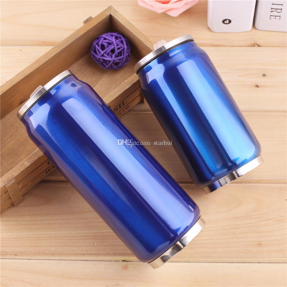 350ml 500ml Cola Can Wasser Cup Edelstahl Außen Vacuum Insulated-Becher-Schale Sith Straw Lids WX9-488 Flasche