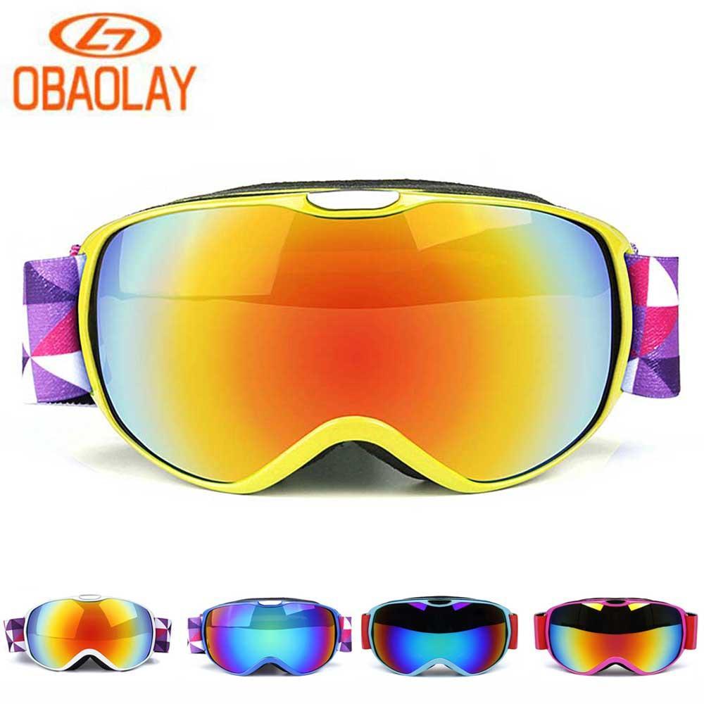 a05168563482f Compre Óculos De Snowboard OBAOLAY Óculos De Esqui UV400 Anti Nevoeiro  Máscara De Esqui Meninas Meninos Snowboard Óculos De Neve Crianças Óculos  Esféricos ...