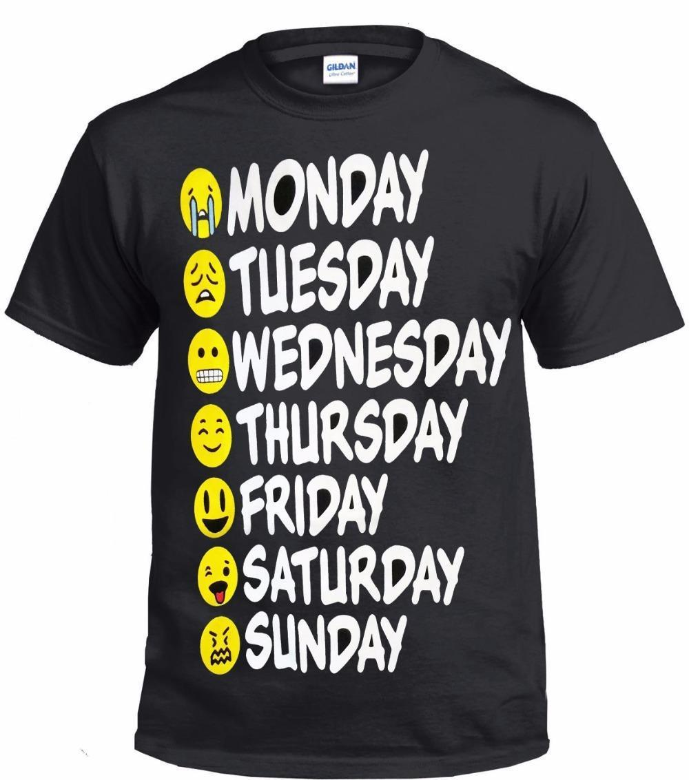 f237ab14a I Love Friday Screen Printed Cotton T Shirt Funny 7 Days Face Cute Joker  Top Tee For Male/Boy Tshirt Long Sleeve Tee Shirts Design Your Own T Shirts  From ...
