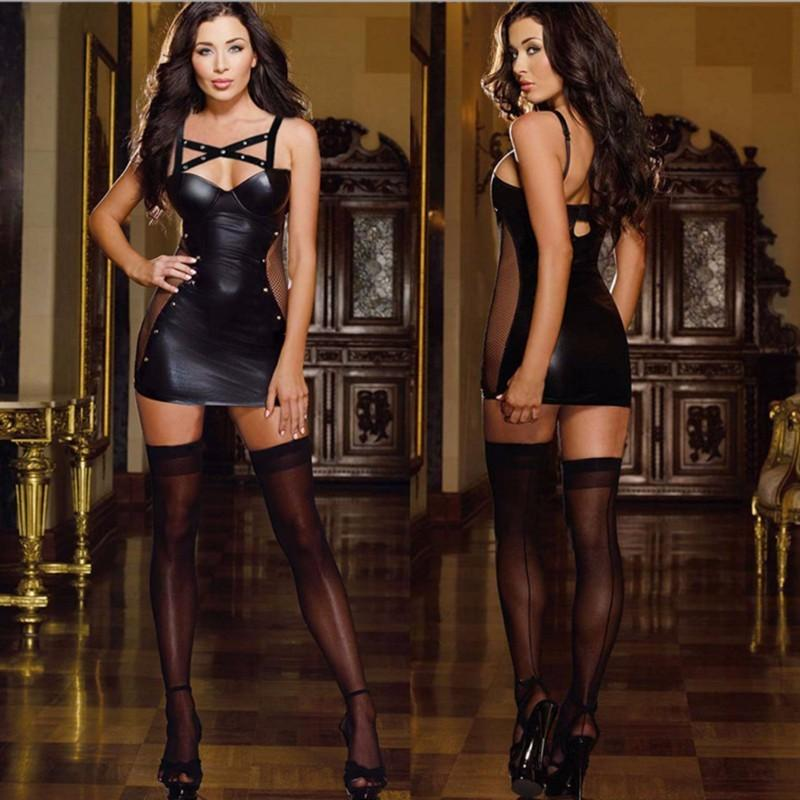 Mesh Patchwork Women Hollow Out Faux Leather Sexy Black Rivet Mini Dress Bondage Garter Lingerie Clubwear Fetish Costume Novelty & Special Use