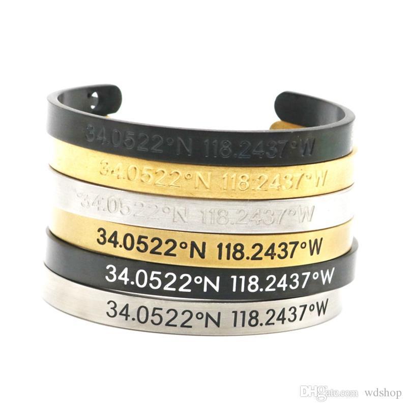 Braccialetto Hip-Hop Inciso Latitudine e longitudine Coppia aperta Bracciali in acciaio al titanio Trendy Brand Retro Bangle Jewelry
