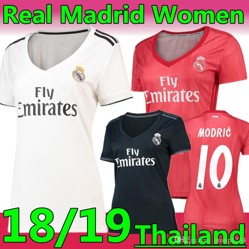 2019 18 19 New Season  10 MODRIC Real Madrid Woman Soccer Jersey 2019  7  Mariano  22 ISCO White Pink Black Lady Thailand Football Shirts From  Group1234 42207439f