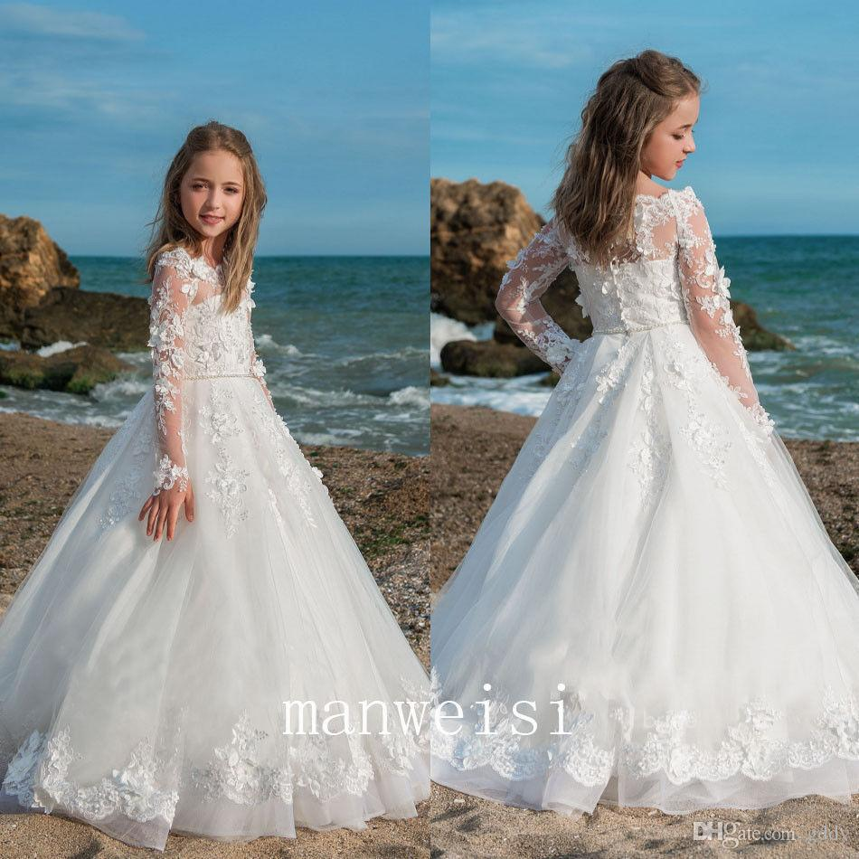 1e58d20f0 2018 New Baby Princess Flower Girl Dress Lace Appliques Wedding Prom ...