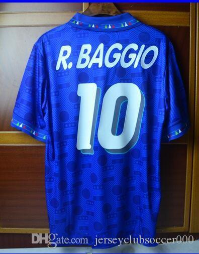 9fd902f348c 2019 94 Italy Roberto Baggio Retro Soccer Jersey Football Shirts 1994 Home  Blue Away White Italia Classical Vintage Calcio MAGLIA From  Jerseyclubsoccer000