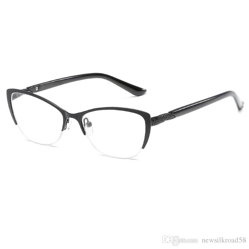 Half Frame Reading Glasses Women Metal Optical Mirror Glasses Anti-Fatigue Hyperopia Women's Cat Eye HD Resin Lens Presbyopic Reading Glass