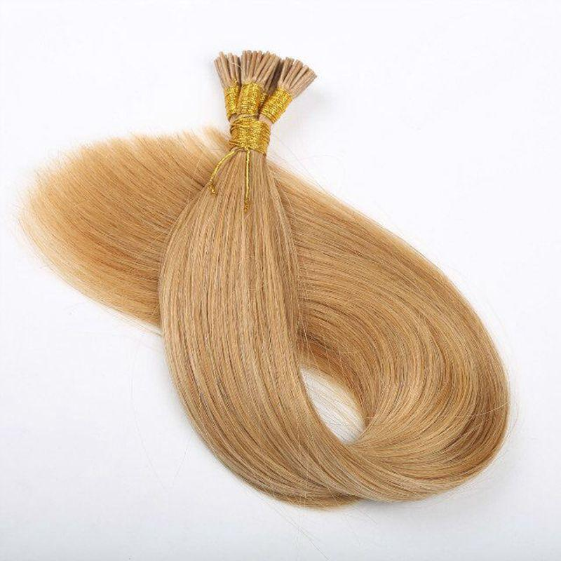 애쉬 금발 # 18 사전 접착 각질 I 팁 머리 확장 가닥 당 100 그램 100 가닥 브라질 인간의 머리 스틱 팁 머리 확장
