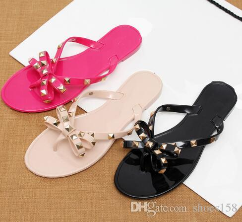 386f8a1afeab Hot! Fashion Women Sandals Flat Jelly Shoes Bow V Flip Flops Stud ...