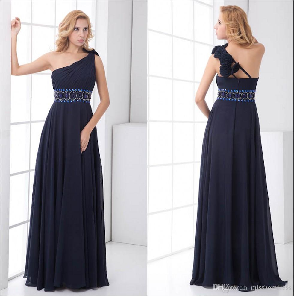 8a410be7002 One Shoulder Chiffon Long Bridesmaid Dresses Navy Blue Ruched Beaded Sash  Floral Floor Length Wedding Guest Maid Of Honor Dresses ZPT202 Maroon  Bridesmaid ...