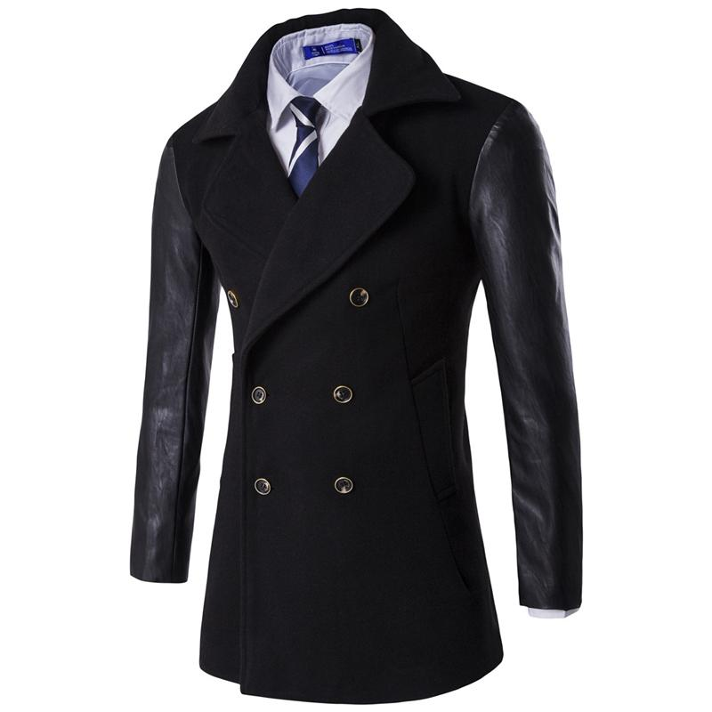 Classic Men's Woolen Coat PU leather Sleeve Peacoat Jackets autumn casual basic Coats Slim Overcoat Double Breasted trench